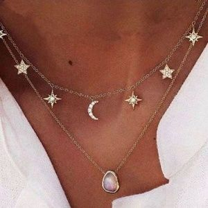 Gold Color Crystal Star Moon Layered Necklaces